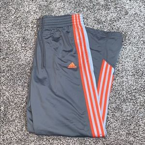 Adidas Mens Gray/Orange Athletic Pants SZ.L